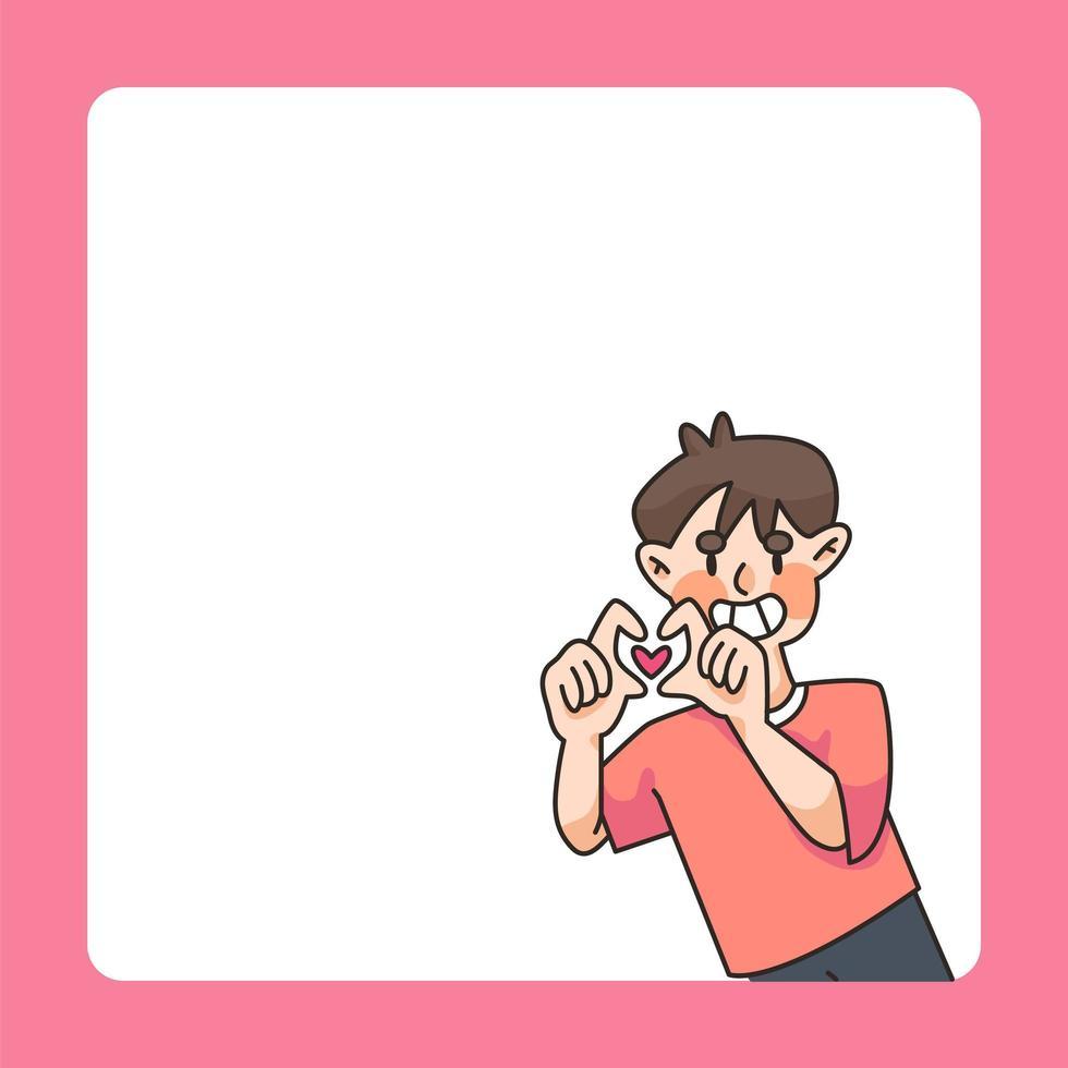 jongen hart teken notitieblok ontwerp schattige cartoon afbeelding vector
