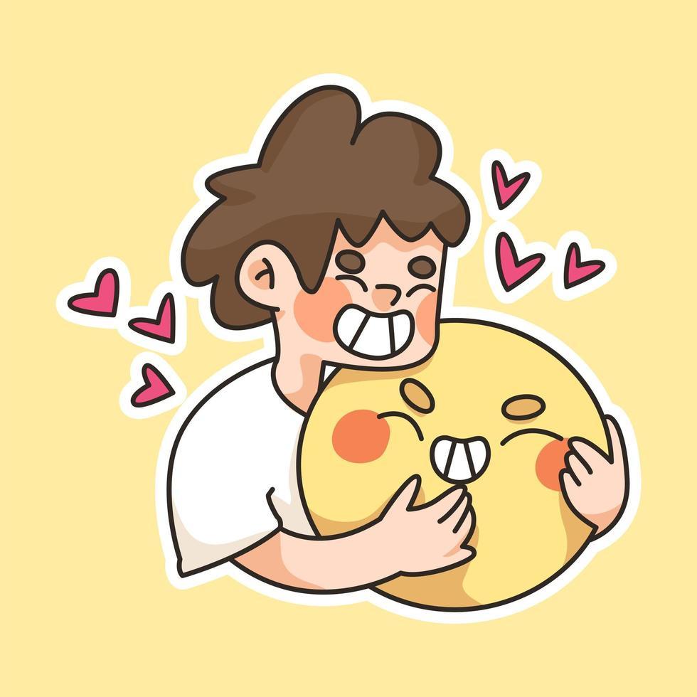 jongen knuffelen een grote blij gezicht emoji cute cartoon afbeelding vector