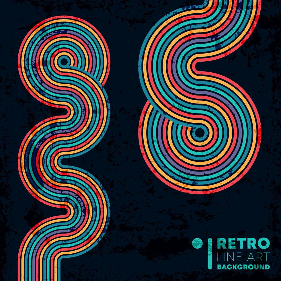 retro grunge textuur achtergrond met kleurrijke vintage lijnen vector