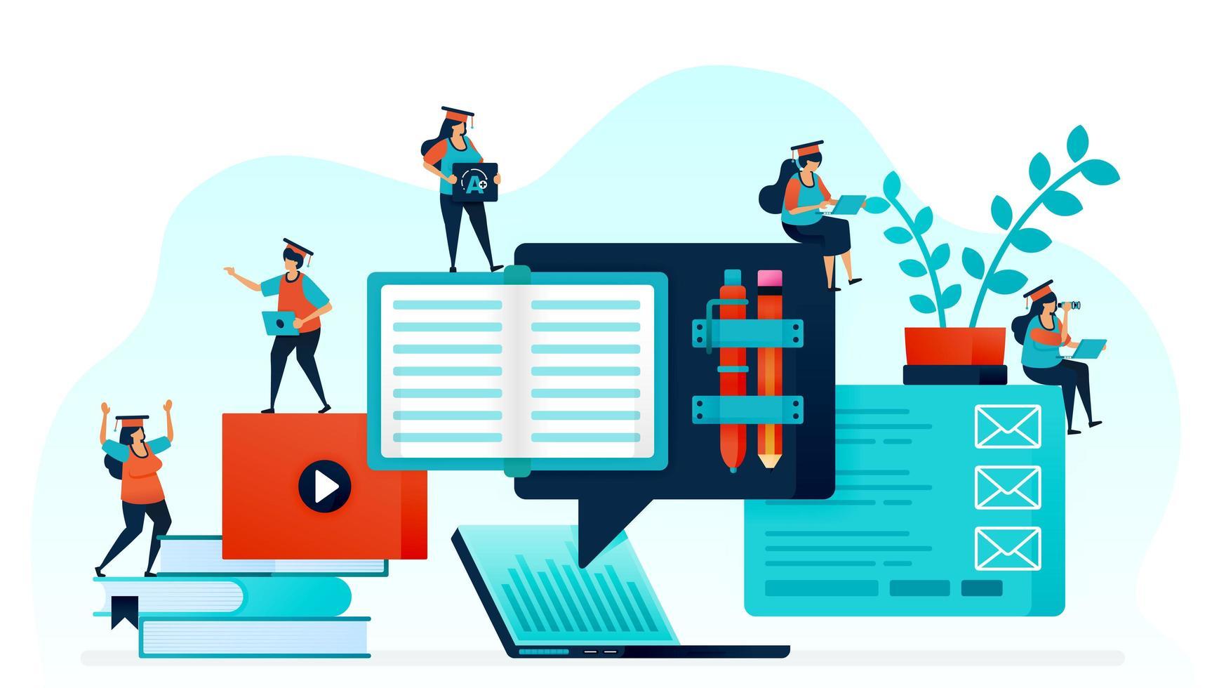 vectorillustratie van e-learning maakt het gemakkelijk voor studenten om te leren. afstandsonderwijs met laptop en internet. online thuiswerk, cursussen en studie voor open kennis. briefpapier en stapel boek vector