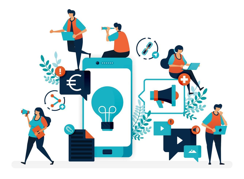 zakelijke ideeën door producten via mobiel te promoten. reclame en marketing met smartphone om winst te maken. platte vectorillustratie voor bestemmingspagina, web, website, banner, mobiele apps, flyer, poster, ui vector