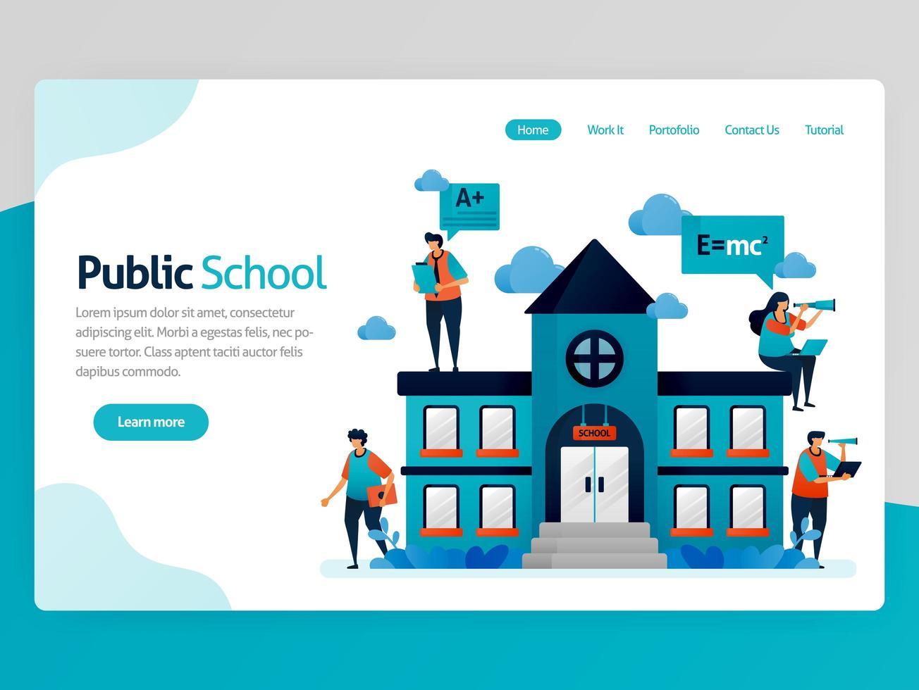 vectorillustratie voor de bestemmingspagina van het onderwijs. openbare schoolgebouwen en werkplek, online onderwijsbeurs, modern leren, e-learning trainingsplatform. homepage header webpagina-sjabloon vector