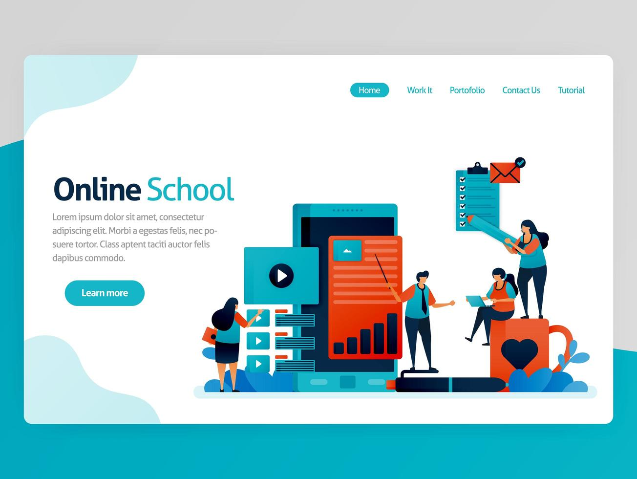 vectorillustratie voor de bestemmingspagina van de online school. mobiele apps voor onderwijs en leren. videozelfstudie, online klaslokaal, webinarles, afstandsonderwijs. homepage koptekst webpagina sjabloon apps vector