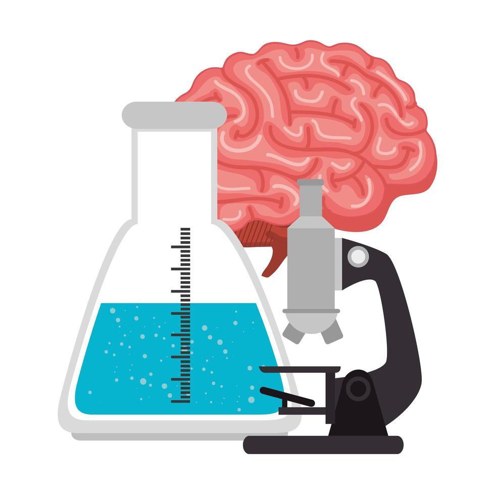microscoop met buistest en hersenen vector