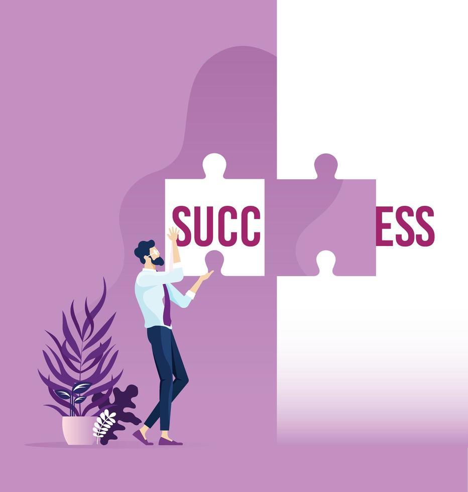 zakenman woord succes verdeeld over twee puzzelstukjes houden vector