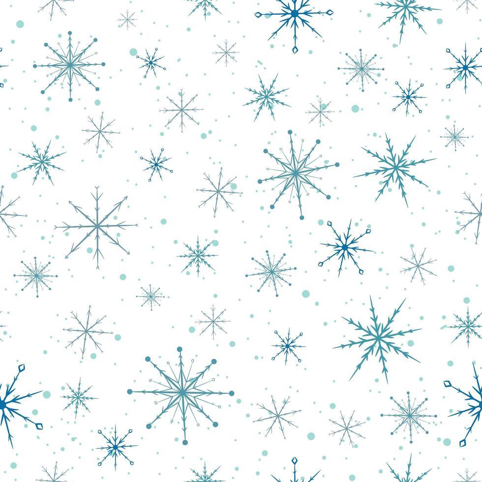 blauwe sneeuwvlokken naadloze patroon. vector