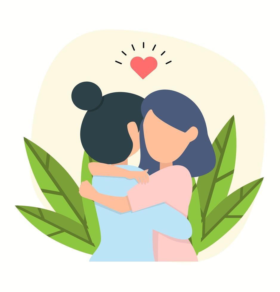 gelukkige vrouwen knuffelen vector