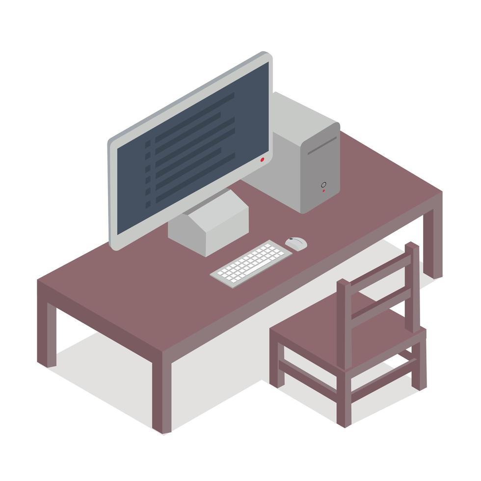 desktop computer isometrische vector concept