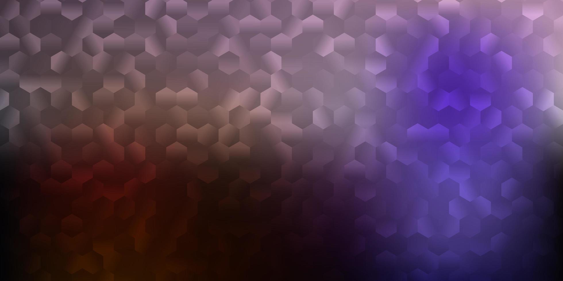 donkerroze, gele vectortextuur met kleurrijke zeshoeken. vector