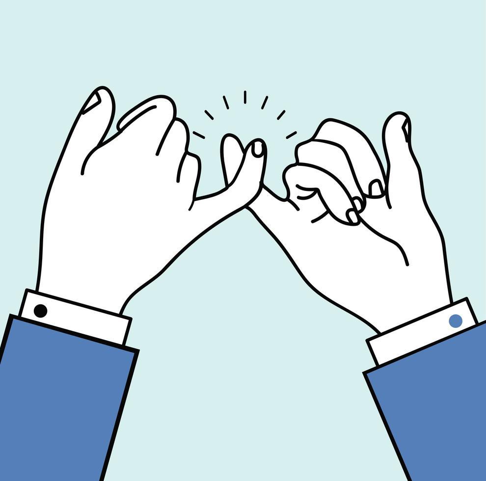 belofte pink vingers, handgebaar vector