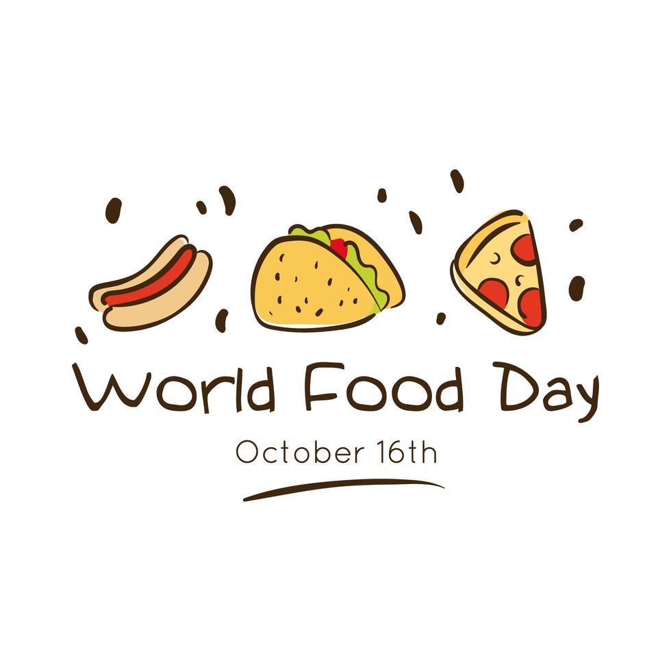 wereldvoedseldag viering belettering met heerlijke fastfood vlakke stijl vector
