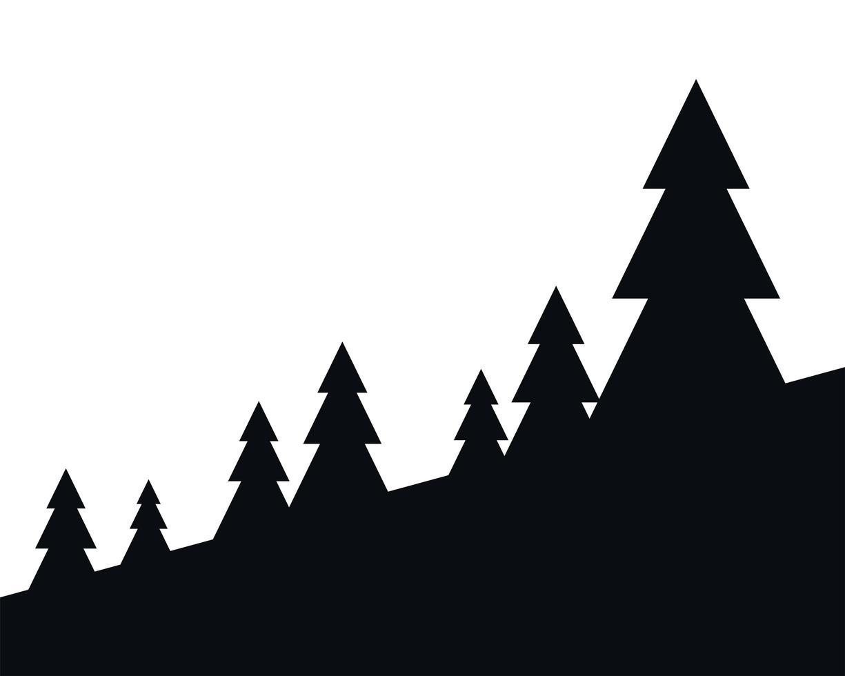 pijnbomen silhouet landschap vector ontwerp