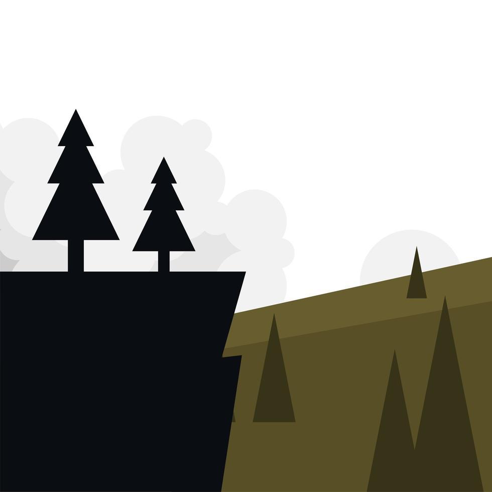 pijnbomen op klif voor landschaps vectorontwerp vector