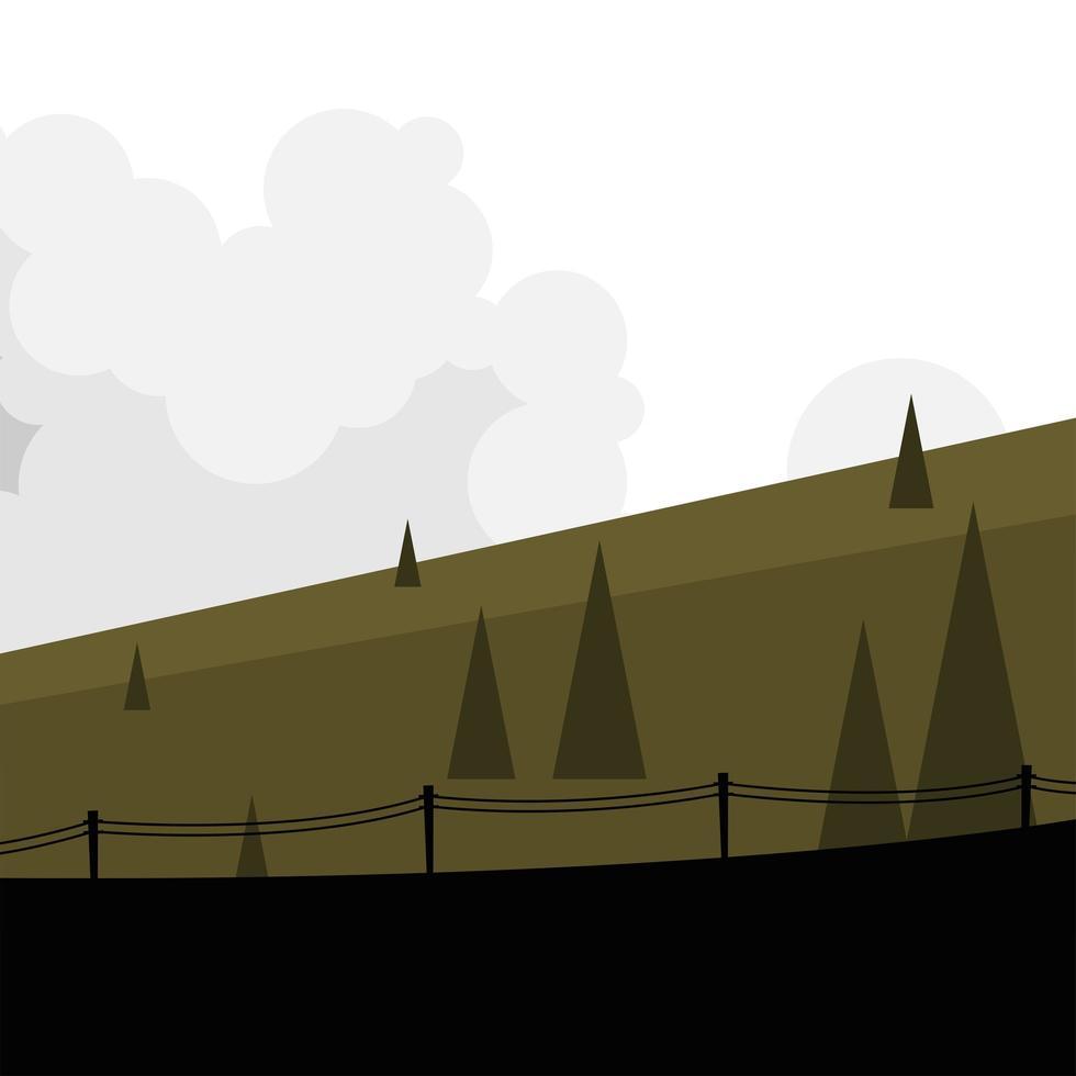 pijnbomen met hek landschap vector ontwerp