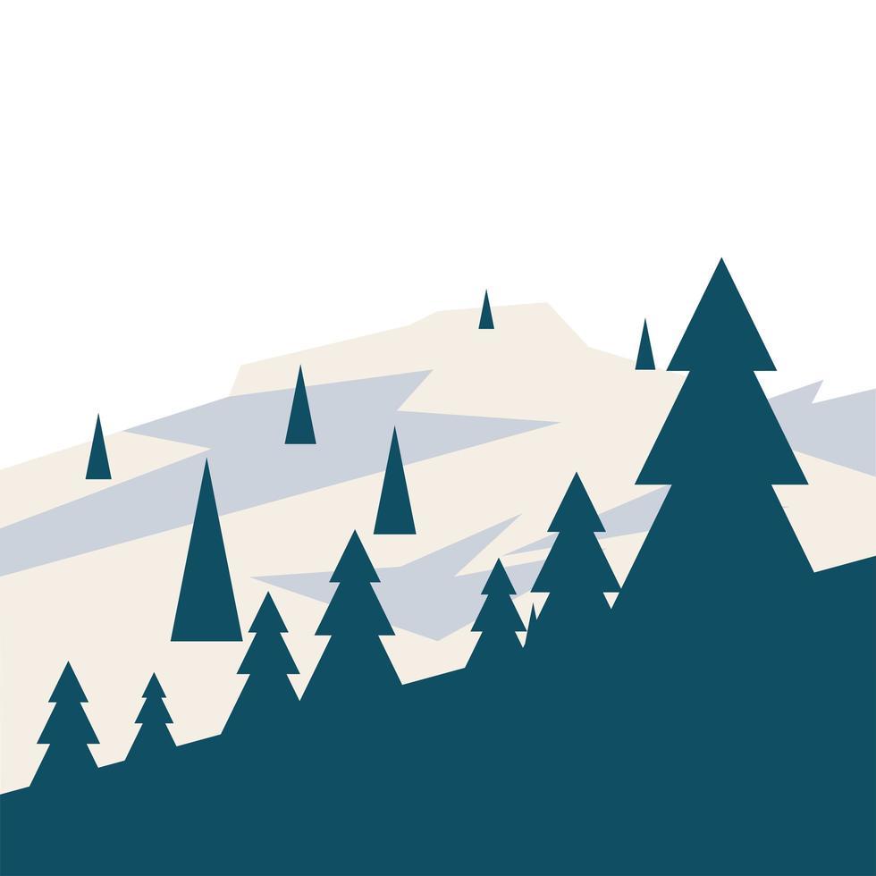 pijnbomen op het vectorontwerp van de sneeuwberg vector