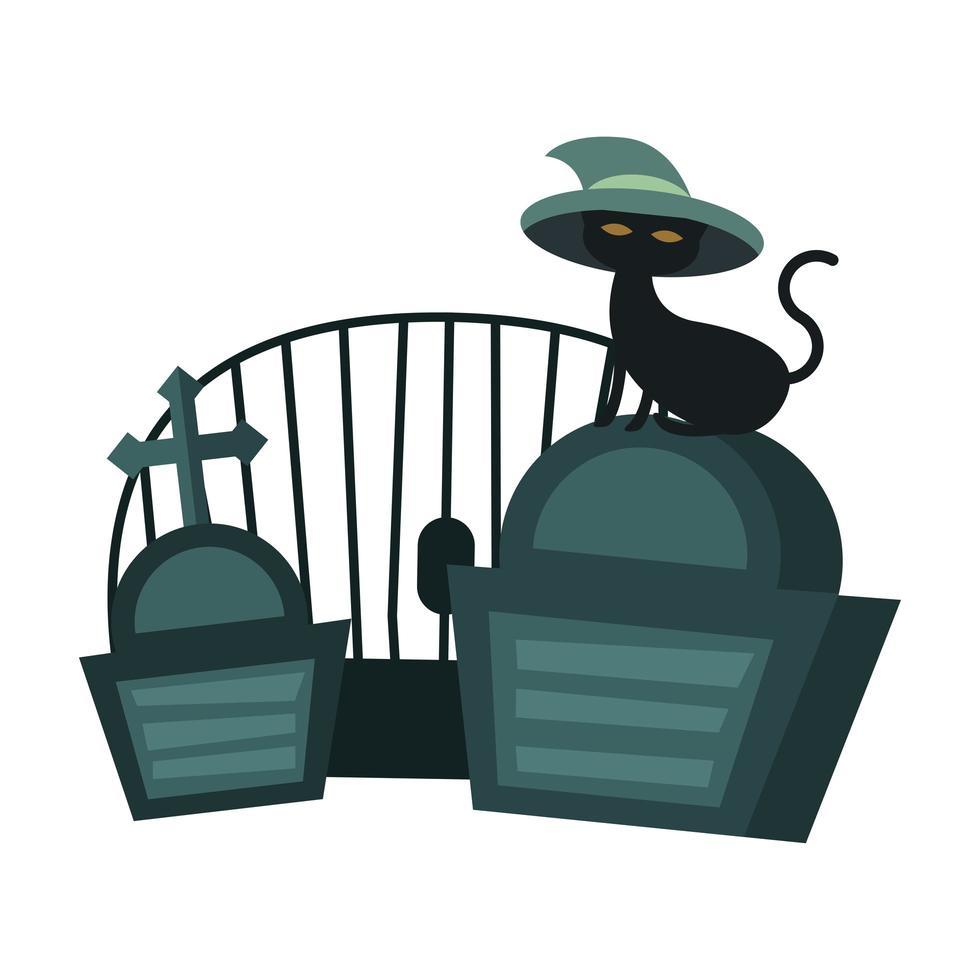 Halloween-kat met hoed bij begraafplaats vectorontwerp vector