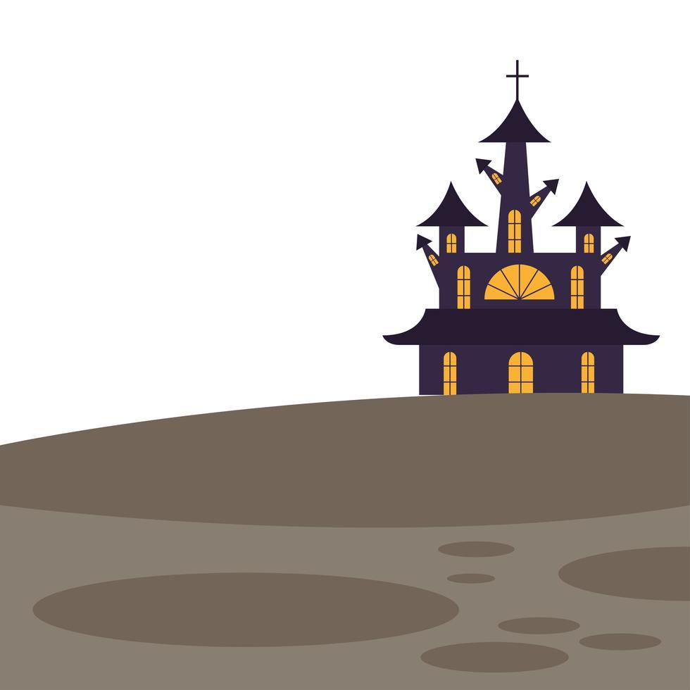 halloween-huis met dwars vectorontwerp vector