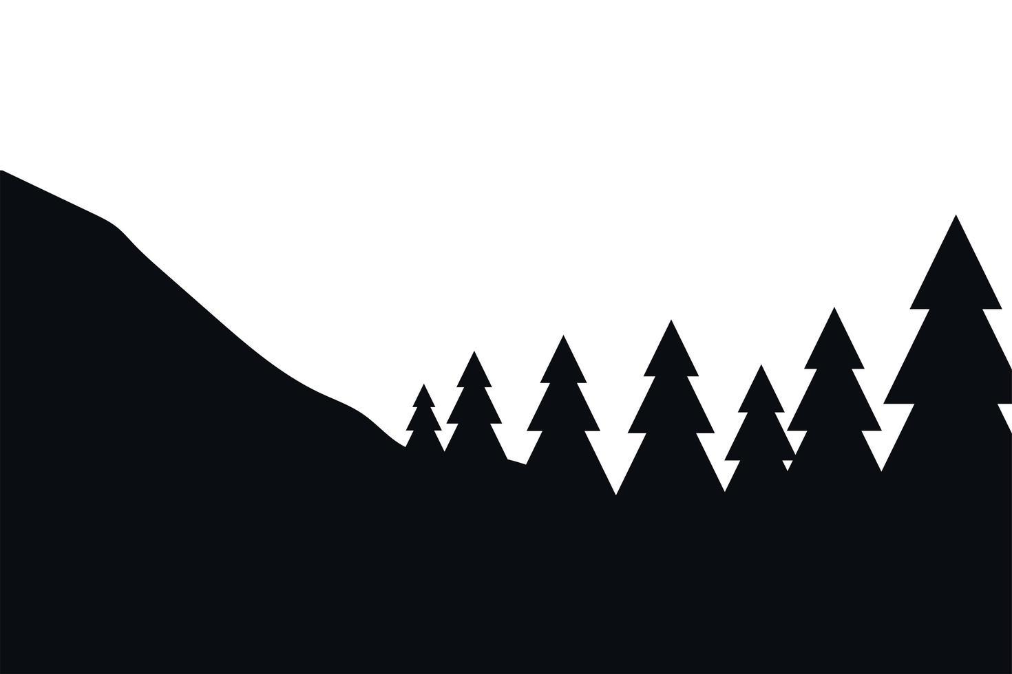 pijnbomen op berg vector ontwerp