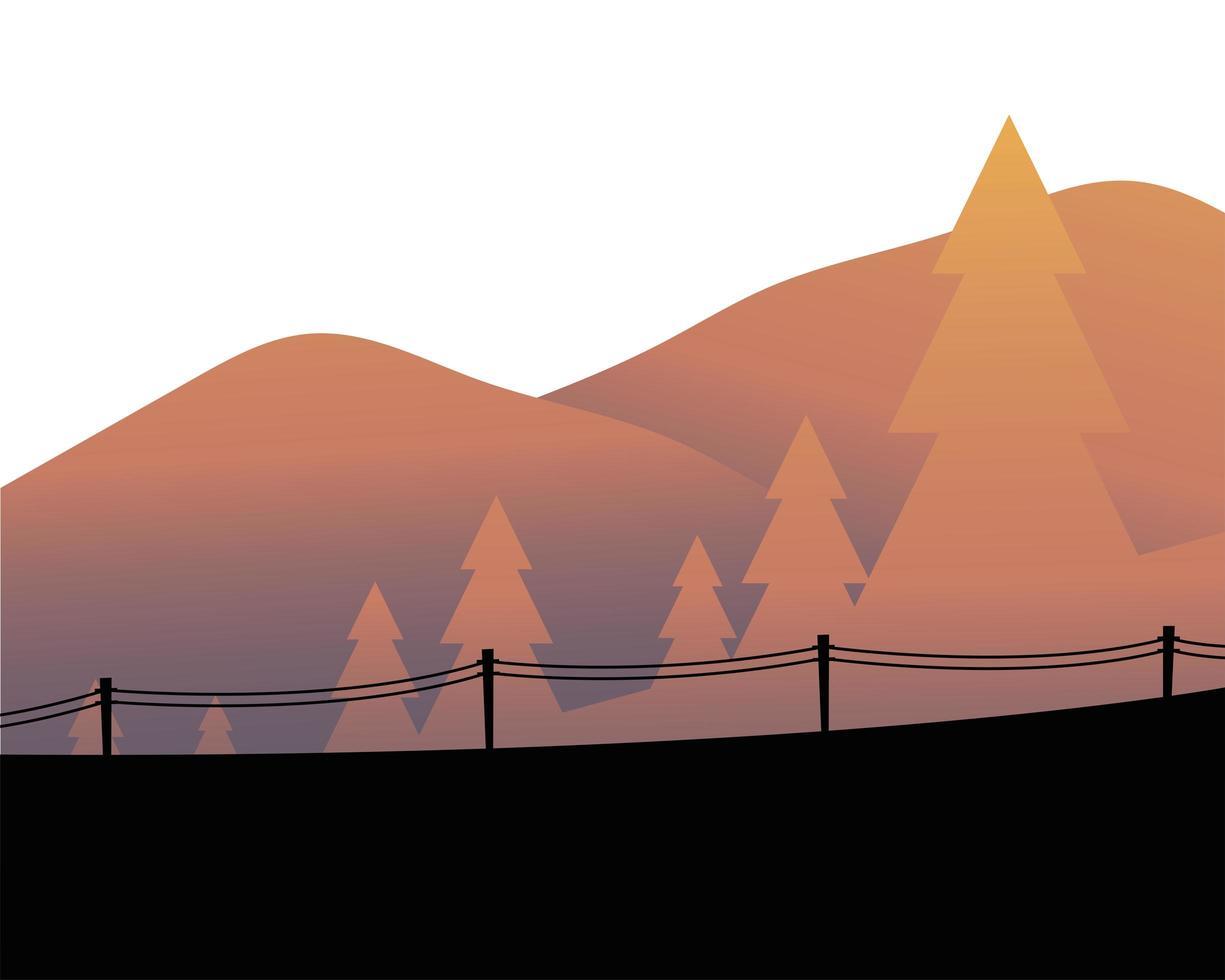 pijnbomen voor berglandschap met hek vector ontwerp