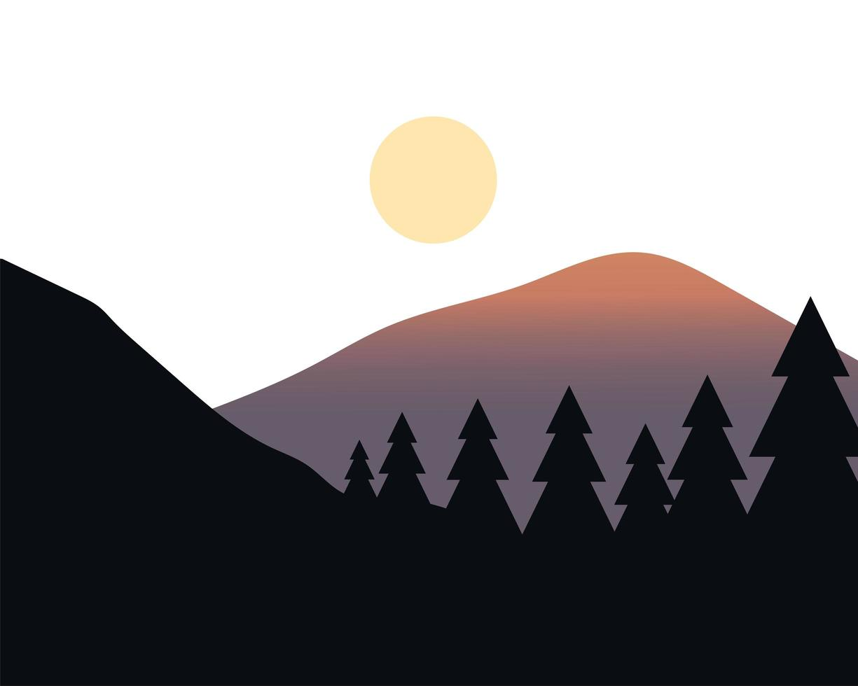 pijnbomen en zon over het vectorontwerp van het berglandschap vector