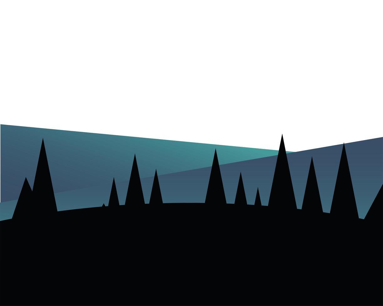 pijnbomen voor het vectorontwerp van het berglandschap vector
