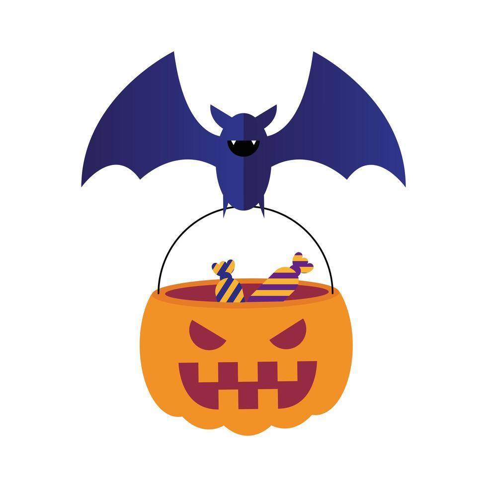 Halloween-knuppel met suikergoed in pompoen vectorontwerp vector
