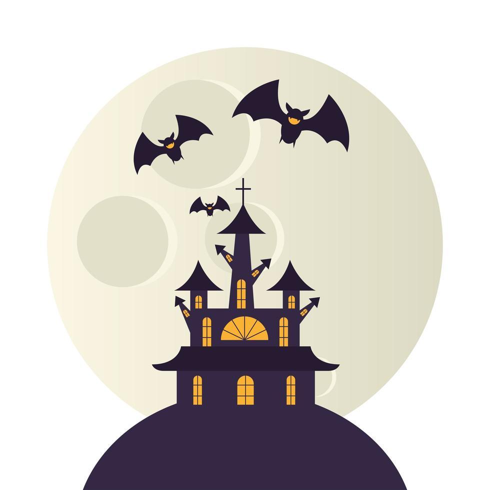 halloween-huis en maan met vleermuizen vectorontwerp vector