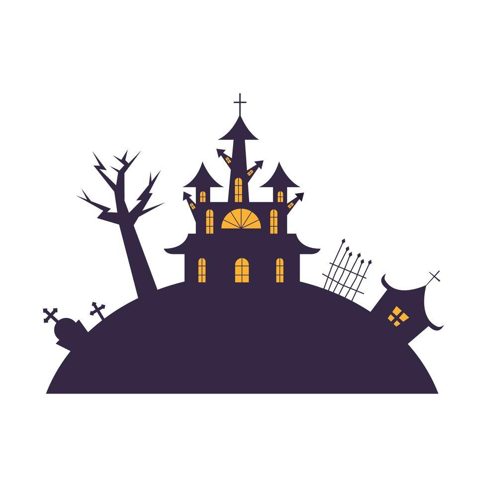halloween-huizen met boom, graf en poort vectorontwerp vector