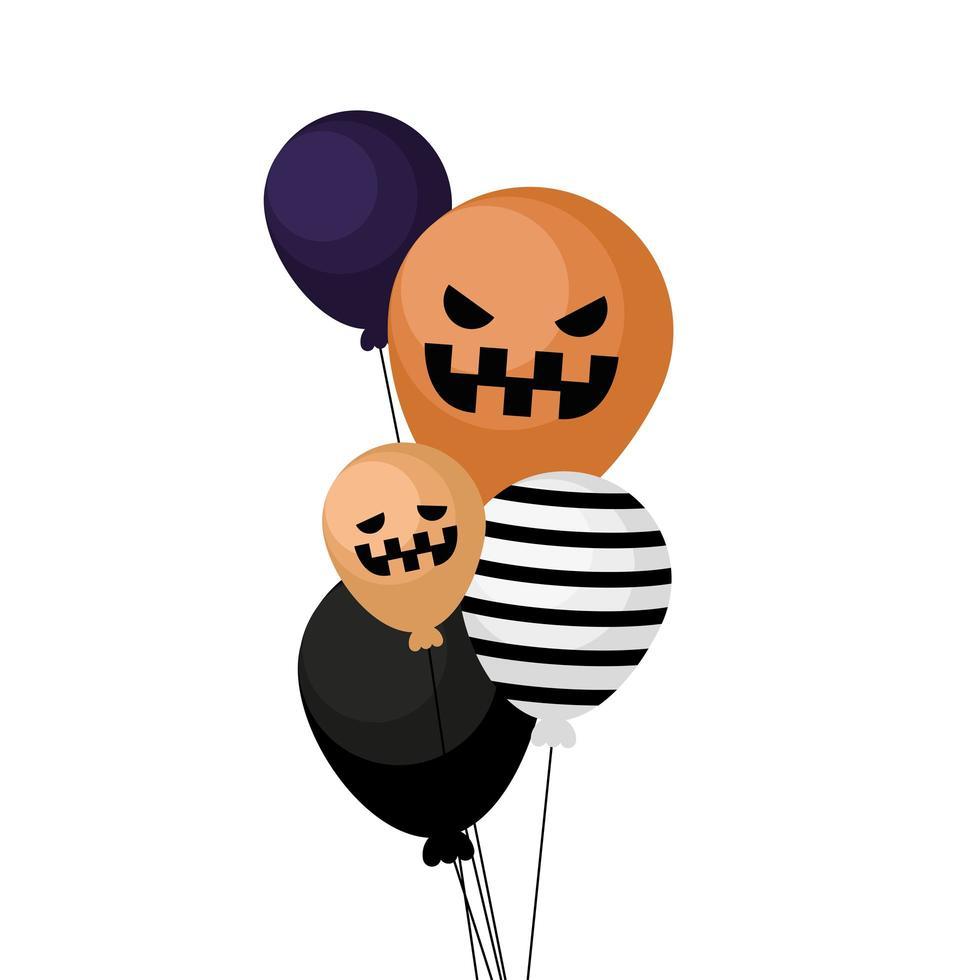 halloween pompoen en gestreepte ballonnen vector ontwerp
