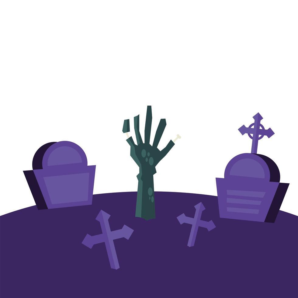 Halloween-zombiehand bij begraafplaats vectorontwerp vector