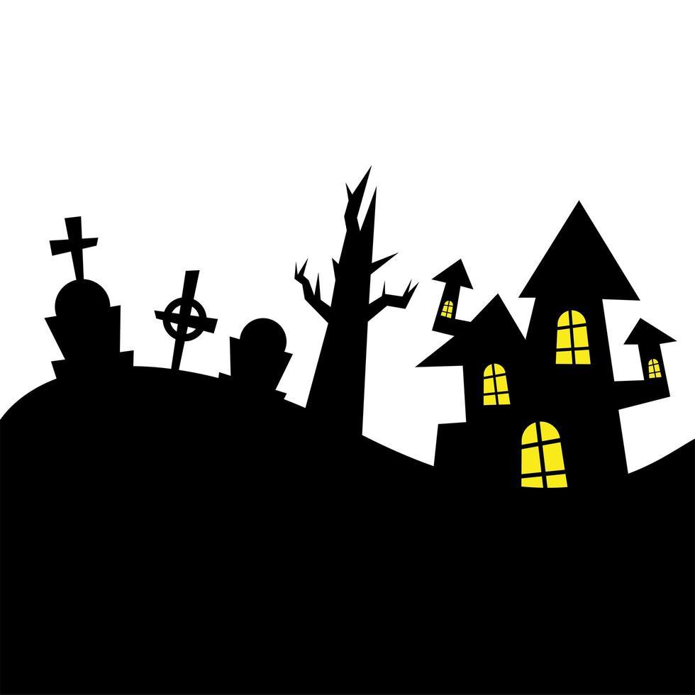 Halloween-huis en kale boom bij begraafplaats vectorontwerp vector