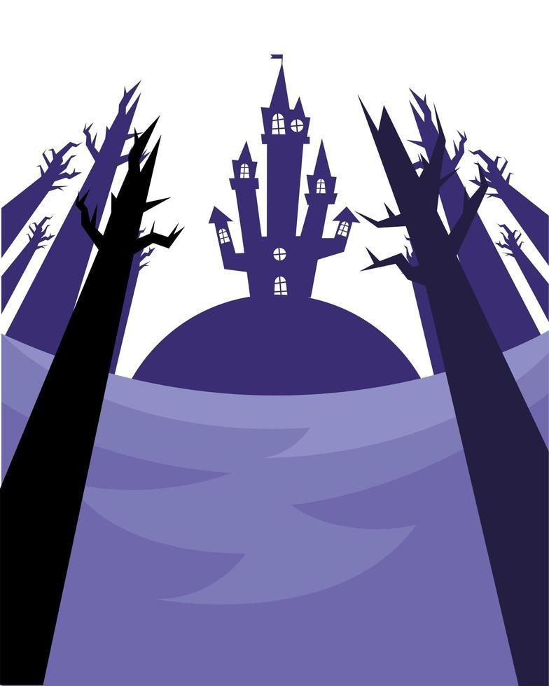 halloween-huis en kale bomen vectorontwerp vector
