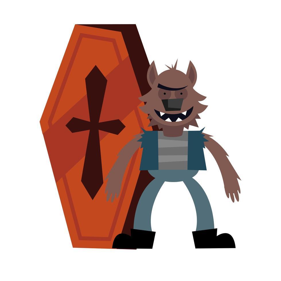 halloween weerwolf cartoon met doodskist vector ontwerp