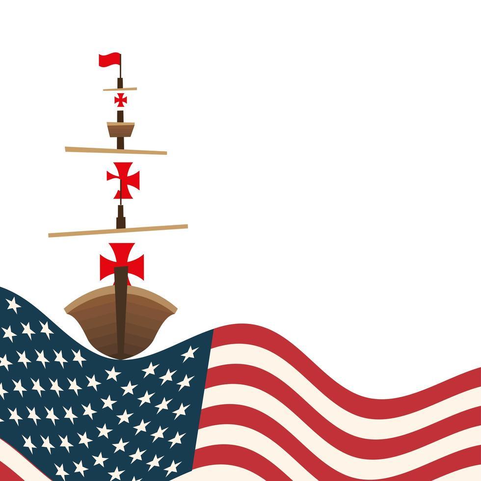 Christopher Columbus-schip met het vectorontwerp van de VS. vector