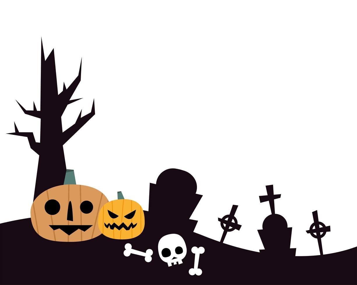 Halloween-pompoenen en schedel bij begraafplaats vectorontwerp vector