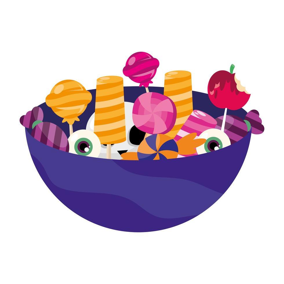halloween snoepjes in kom vector ontwerp
