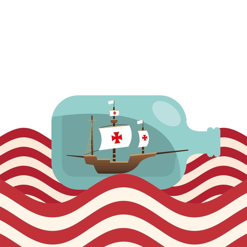christopher columbus schip in fles op gestreepte zee vector ontwerp