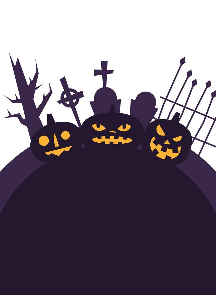 Halloween-pompoenen bij begraafplaats vectorontwerp vector