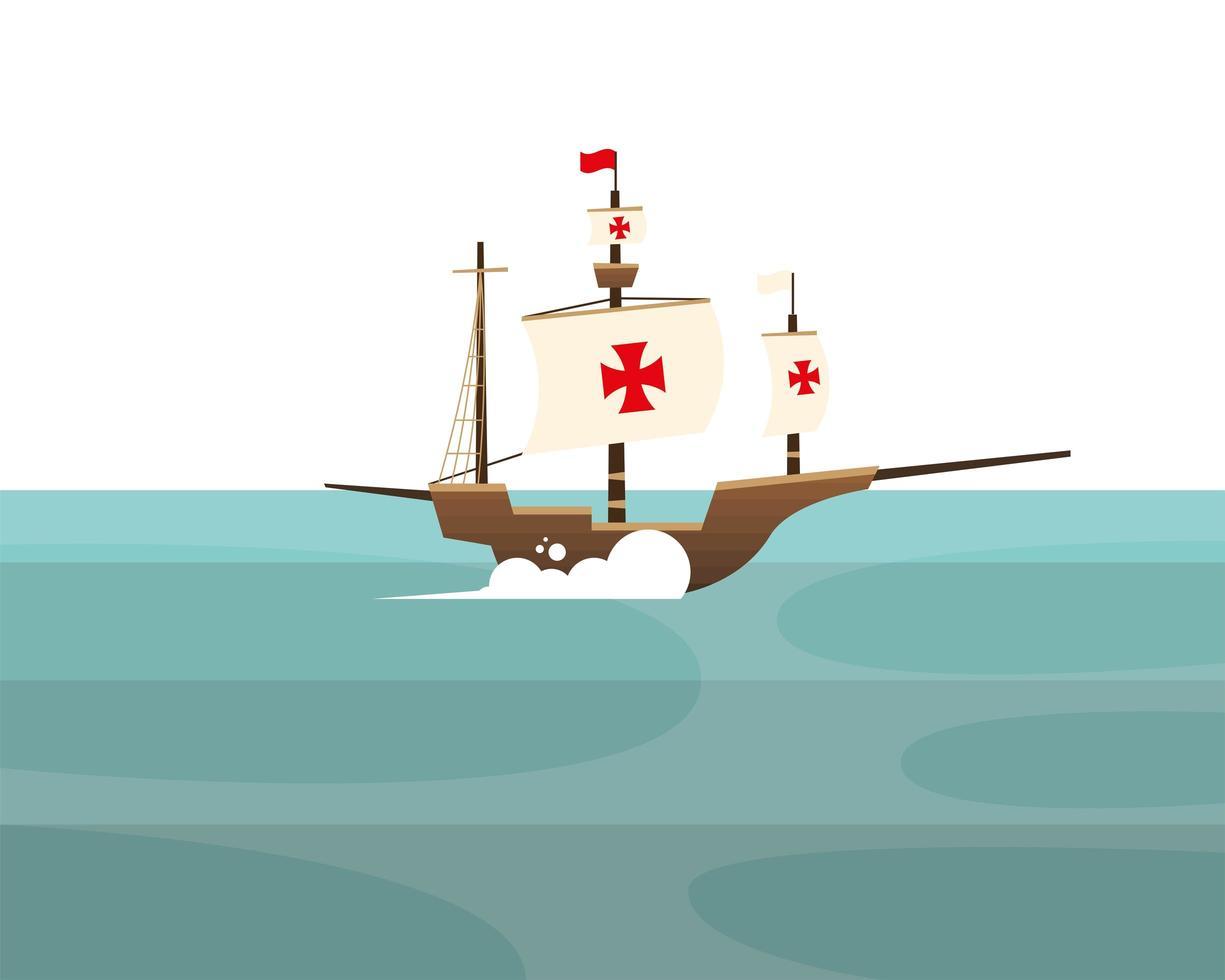 christopher columbus schip op zee vector ontwerp