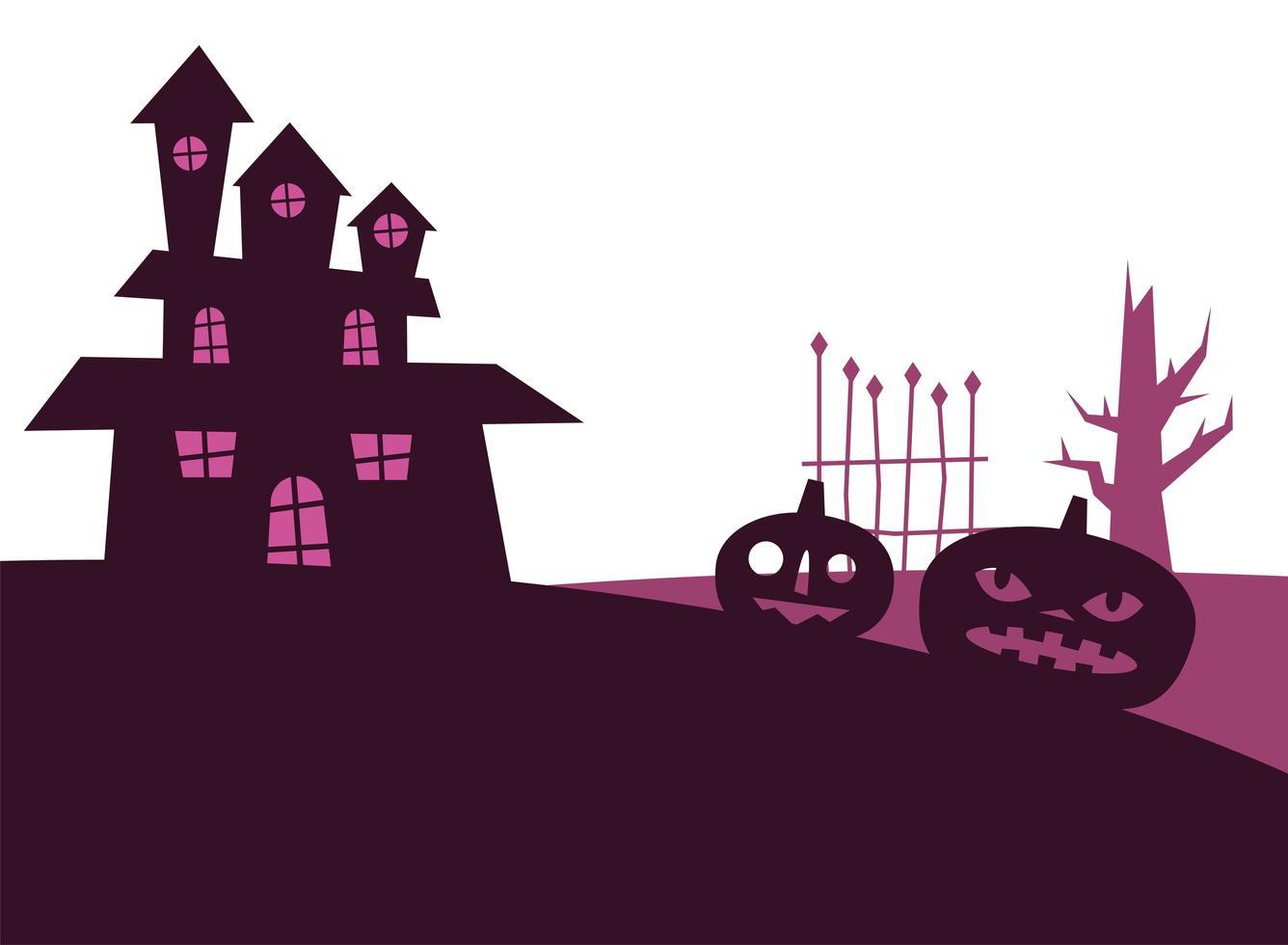 halloween pompoenen en huis vector ontwerp