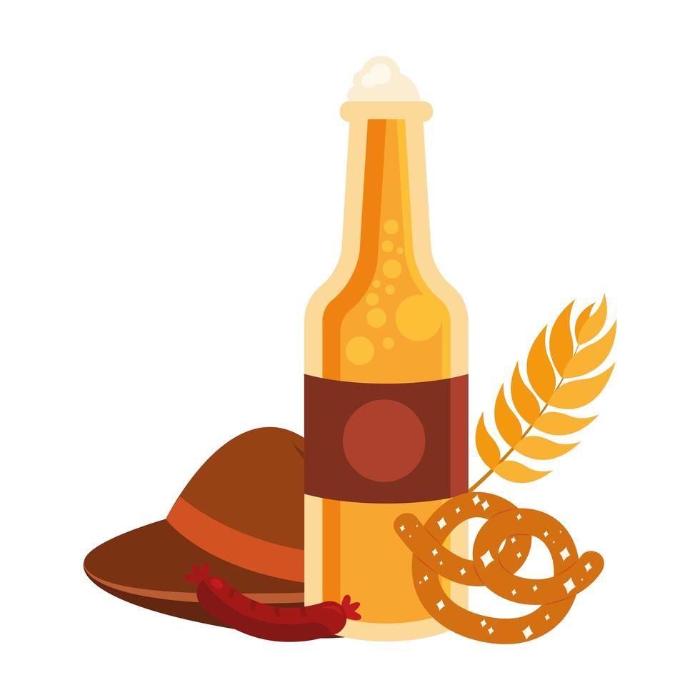 oktoberfest bierfles, hoed, krakeling en worst vector ontwerp