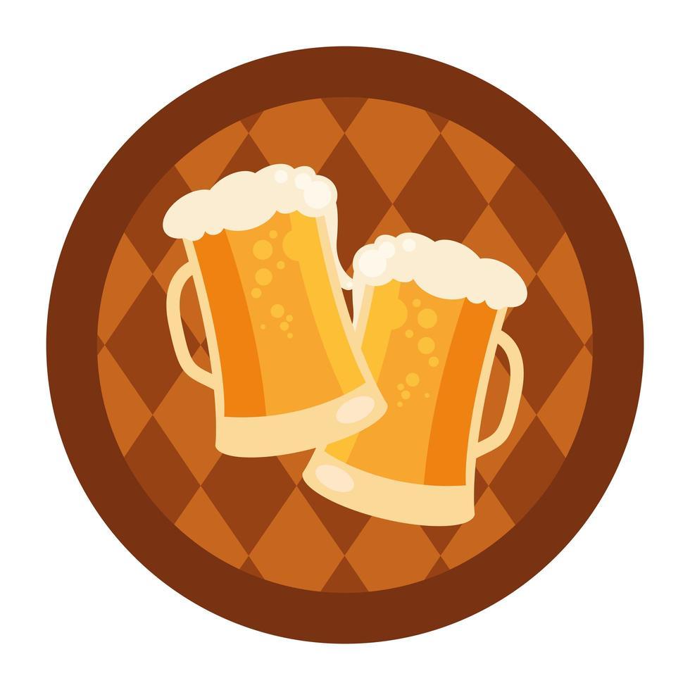 Oktoberfest bierglazen in vat vector ontwerp