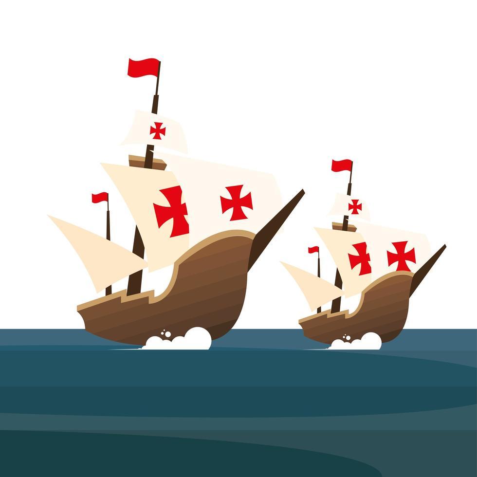 christopher columbus schepen op zee vector ontwerp