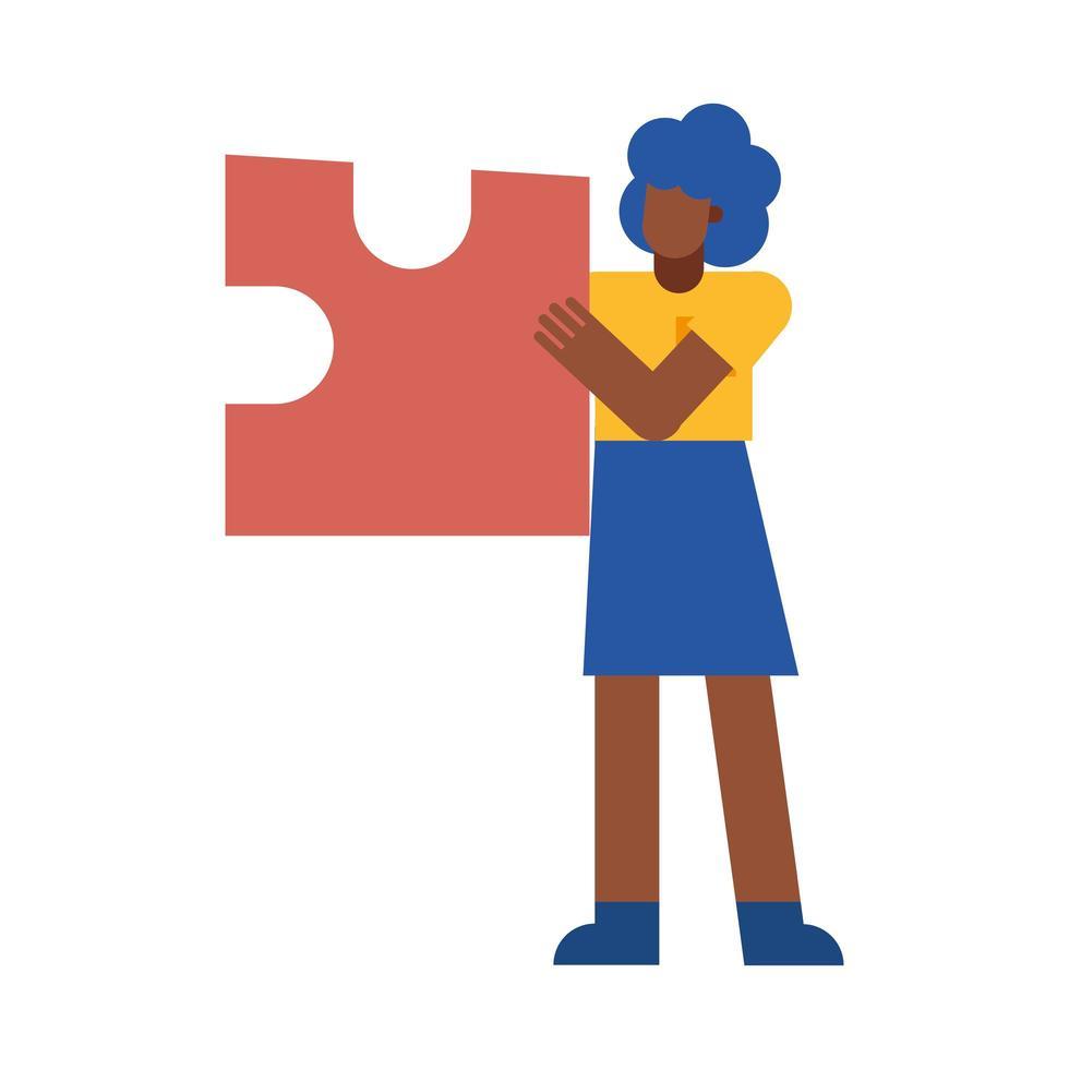 zwarte vrouw met puzzel vector ontwerp