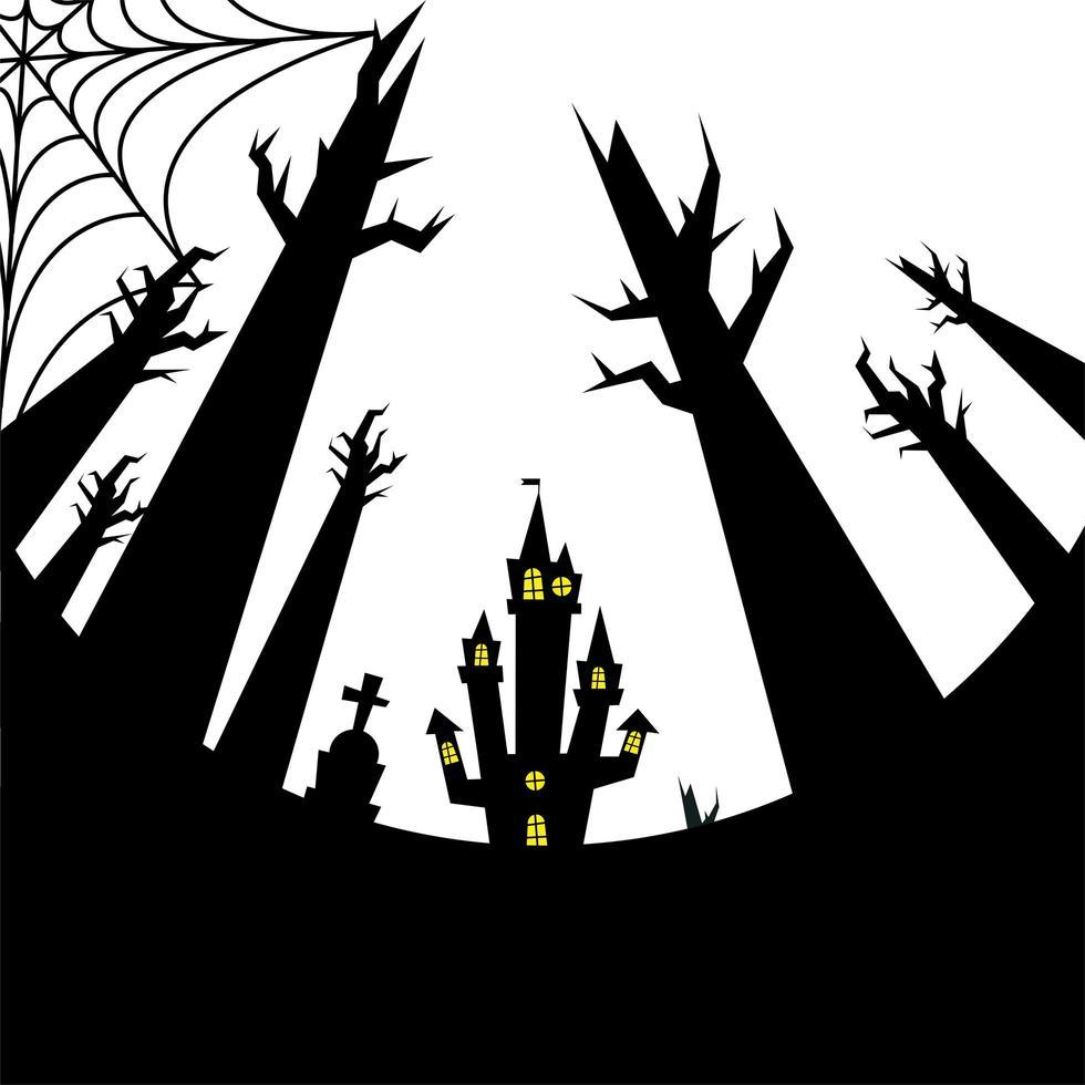 halloween huis, graf en kale bomen vector ontwerp