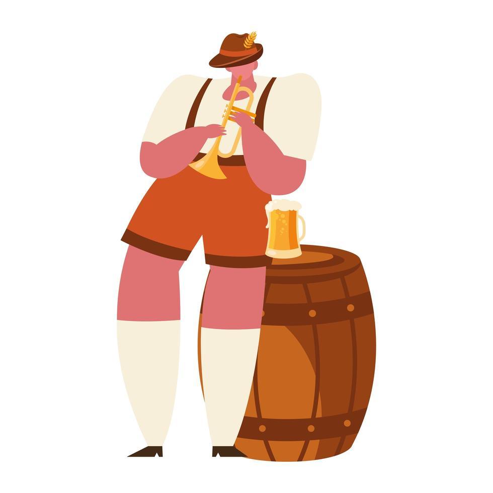 oktoberfest man met trompet en bier vector ontwerp