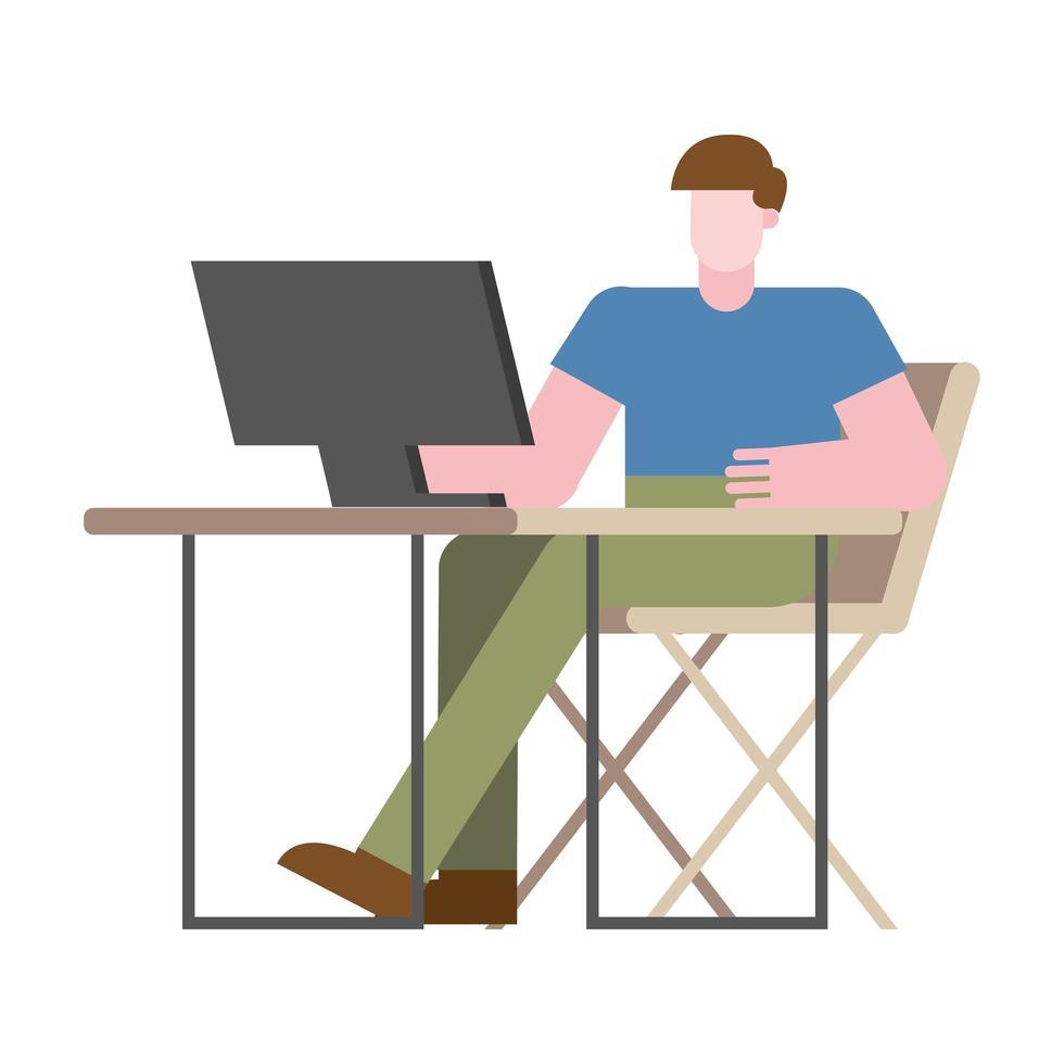 man met computer aan bureau werken vanuit huis vector ontwerp