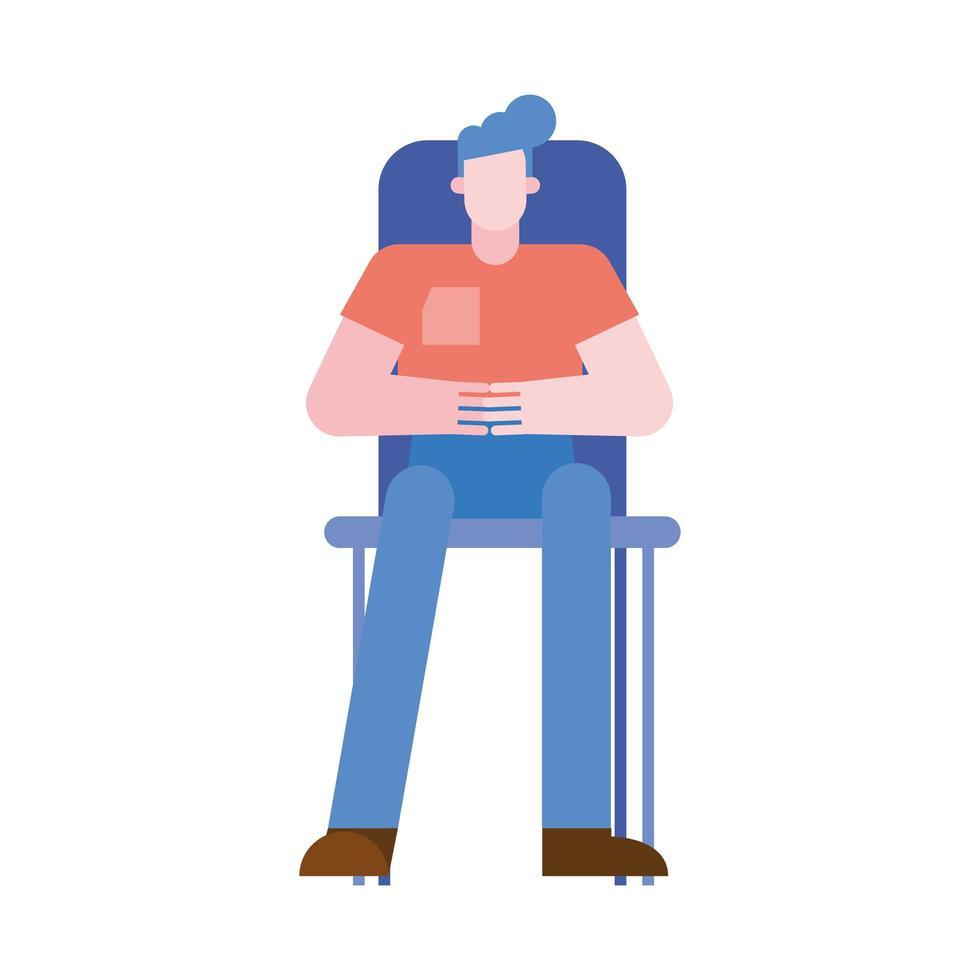 man cartoon op stoel vector ontwerp