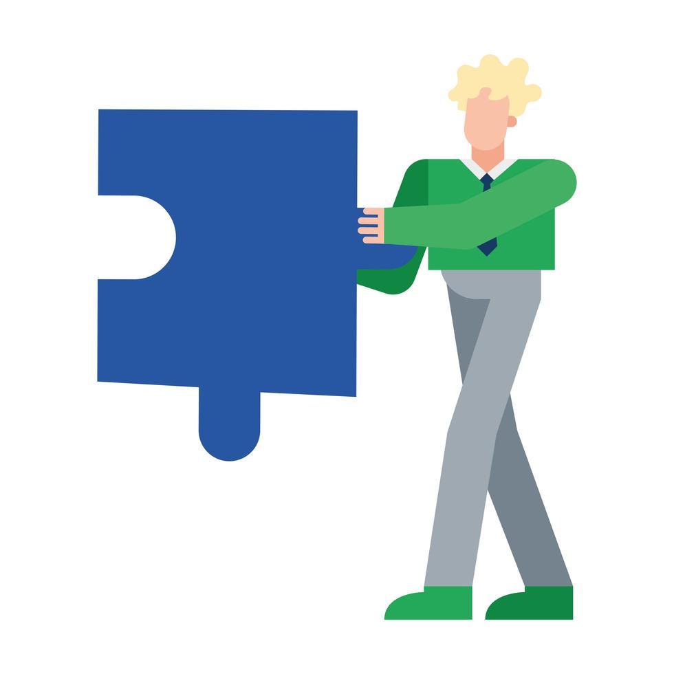 blonde man met puzzel vector ontwerp