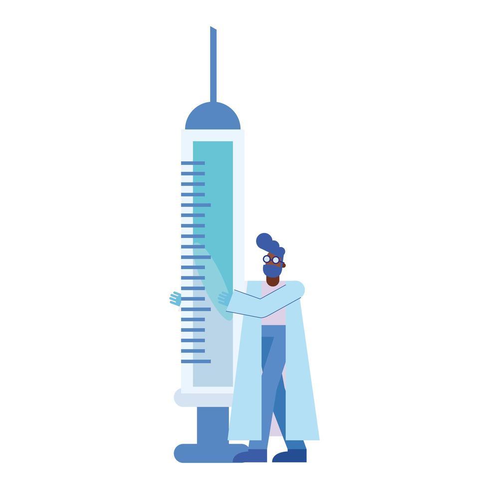 chemische man met injectie vector ontwerp